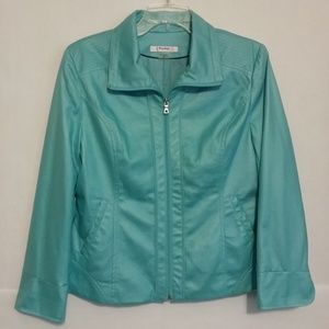 TanJay faux leather bright blue Jacket 10P